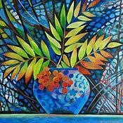 Картины и панно handmade. Livemaster - original item Through the branches and bunches of Rowan on a quiet sky look. Handmade.