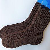 Аксессуары ручной работы. Ярмарка Мастеров - ручная работа Мужские носки коричневые Dark chocolate. Handmade.