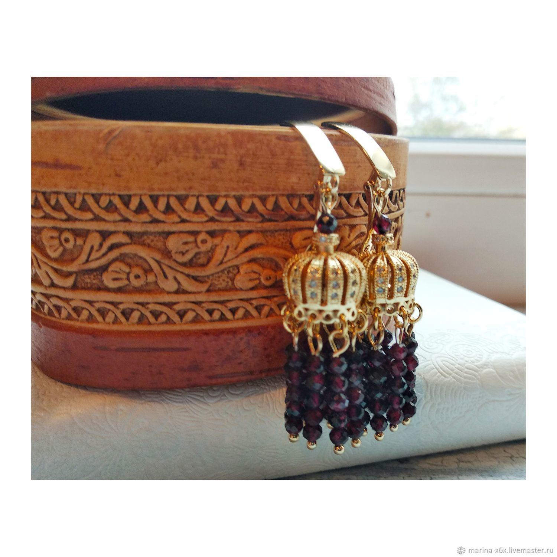 Long earrings with a small garnet, Earrings, Moscow,  Фото №1