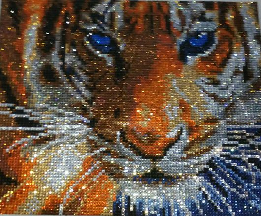 Животные ручной работы. Ярмарка Мастеров - ручная работа. Купить Алмазный тигр. Handmade. Оранжевый, картина, подарок