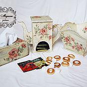 Для дома и интерьера handmade. Livemaster - original item Set for tea: tea cabin napkin holder and candy dish. Handmade.