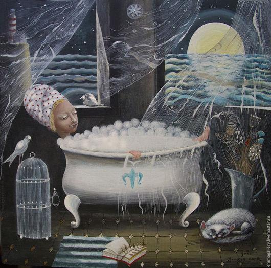 Фантазийные сюжеты ручной работы. Ярмарка Мастеров - ручная работа. Купить Морская вода.. Handmade. Морская волна, Керамика, иллюстрация