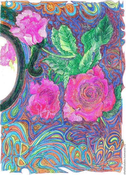 """Картины цветов ручной работы. Ярмарка Мастеров - ручная работа. Купить """"Отражение"""". Handmade. Комбинированный, картина для интерьера, на стену"""