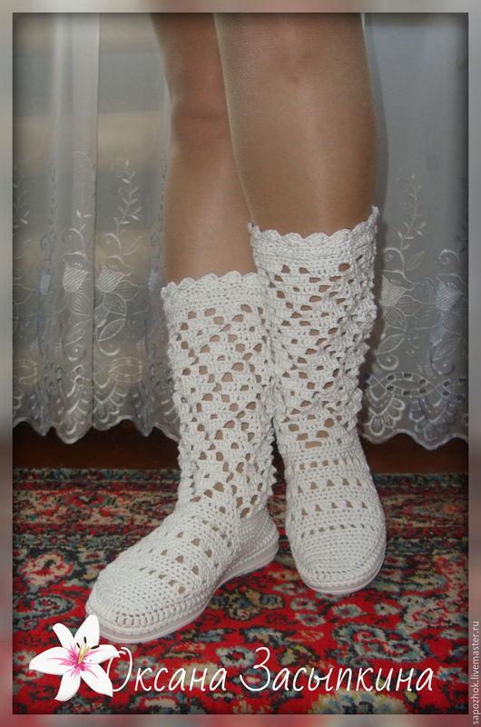 Обувь ручной работы. Ярмарка Мастеров - ручная работа. Купить Сапожки вязаные крючком для улицы,из хлопка. Handmade. Вязаные сапожки