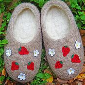 """Обувь ручной работы. Ярмарка Мастеров - ручная работа ЭКО тапочки """"Клубника"""". Handmade."""