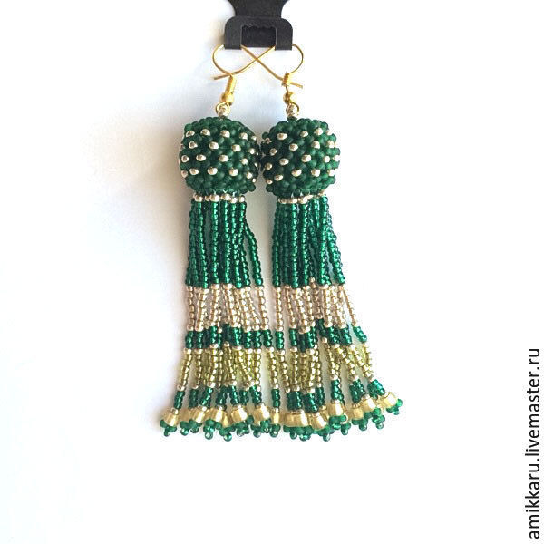 Long green beaded tassels earrings Christmas, Tassel earrings, Kireevsk,  Фото №1