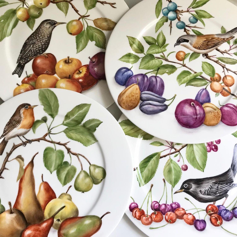 Роспись фарфора Коллекция Птицы и фрукты, Тарелки, Москва,  Фото №1