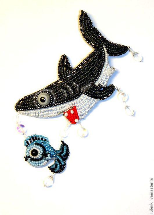 """Броши ручной работы. Ярмарка Мастеров - ручная работа. Купить Брошь """"Акула"""". Handmade. Брошь, акула, замша"""
