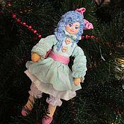 Куклы и игрушки ручной работы. Ярмарка Мастеров - ручная работа Мальвина - ватная елочная игрушка. Handmade.