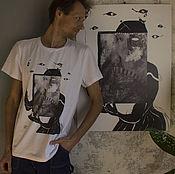 Футболки ручной работы. Ярмарка Мастеров - ручная работа футболка с принтом_дама с веером. Handmade.