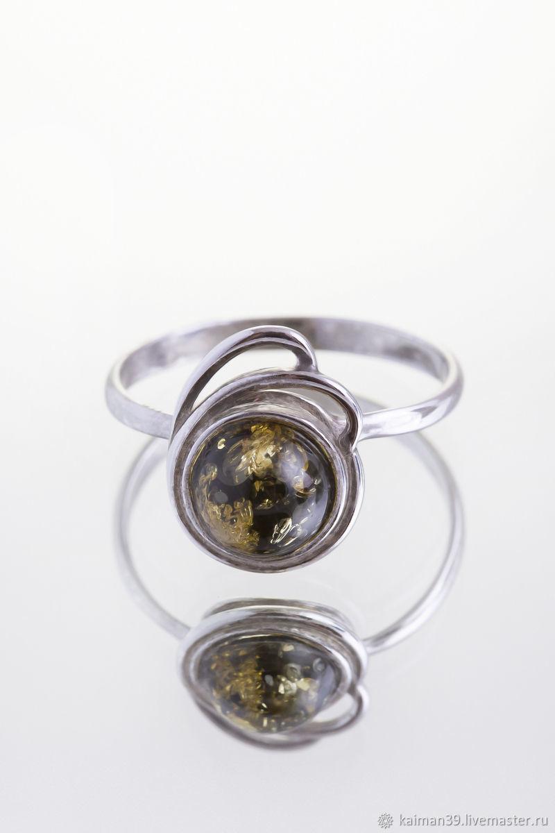 Неземное кольцо из серебра и натурального балтийского янтаря, Кольца, Калининград,  Фото №1
