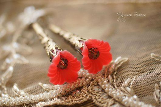 """Серьги ручной работы. Ярмарка Мастеров - ручная работа. Купить Серьги """"Нежные цветы"""" алые. Handmade. Ярко-красный, серьги"""