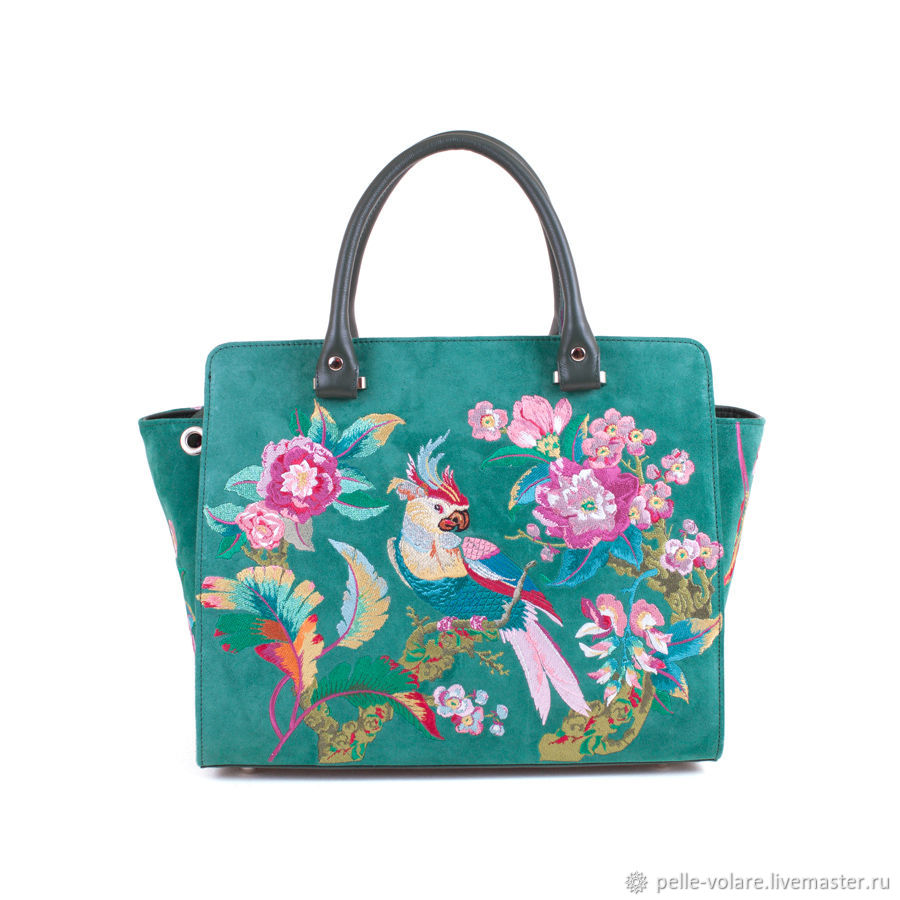 Medium tote bag with embroidered 'Parrot', Classic Bag, St. Petersburg,  Фото №1