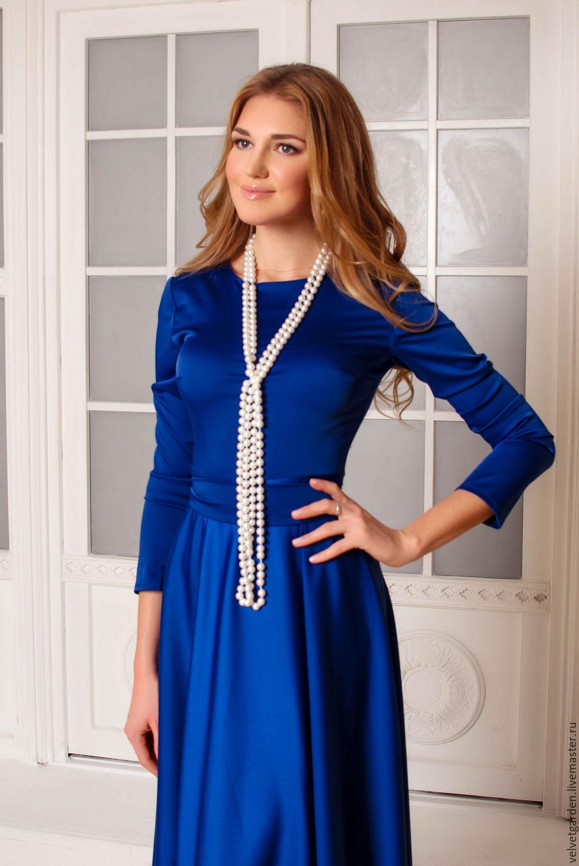 Платье синее на работу