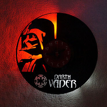 For home and interior handmade. Livemaster - original item Wall clock with LED backlight from the plate Darth Vader. Handmade.