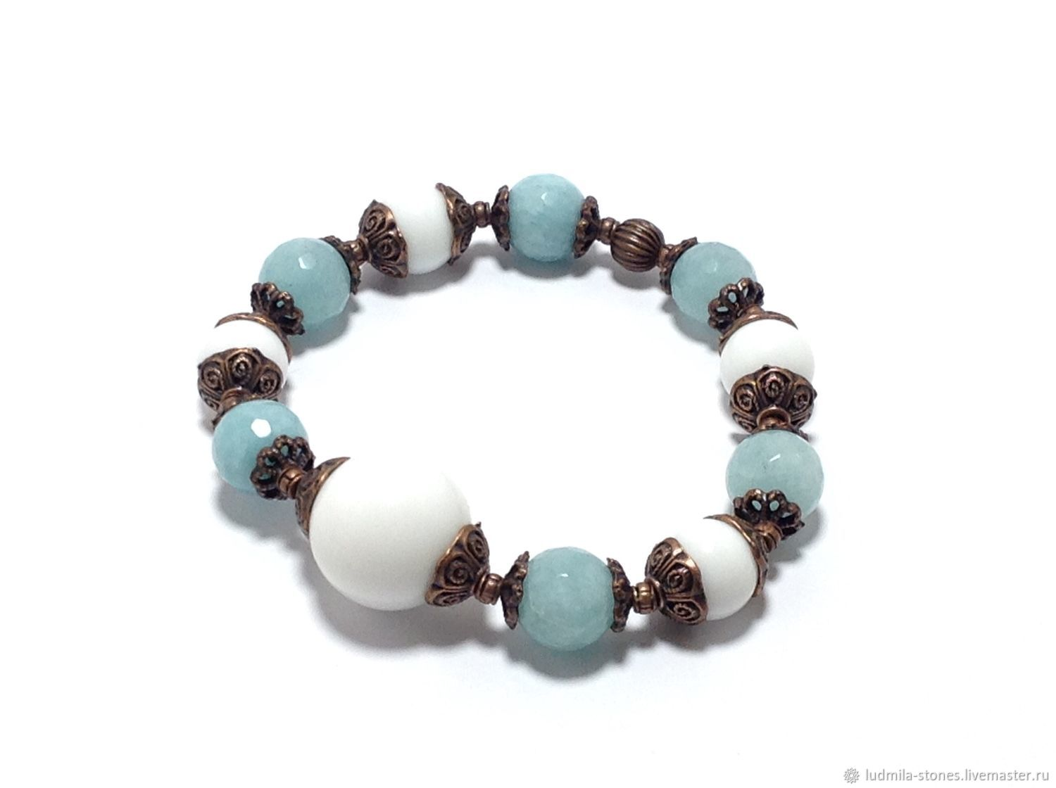 Bracelet made of natural stones 'a Light breeze', Bead bracelet, Moscow,  Фото №1