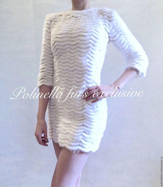 Платья ручной работы. Ярмарка Мастеров - ручная работа. Купить Платье из белоснежной норки на гипюре. Handmade. Платье, купить в москве