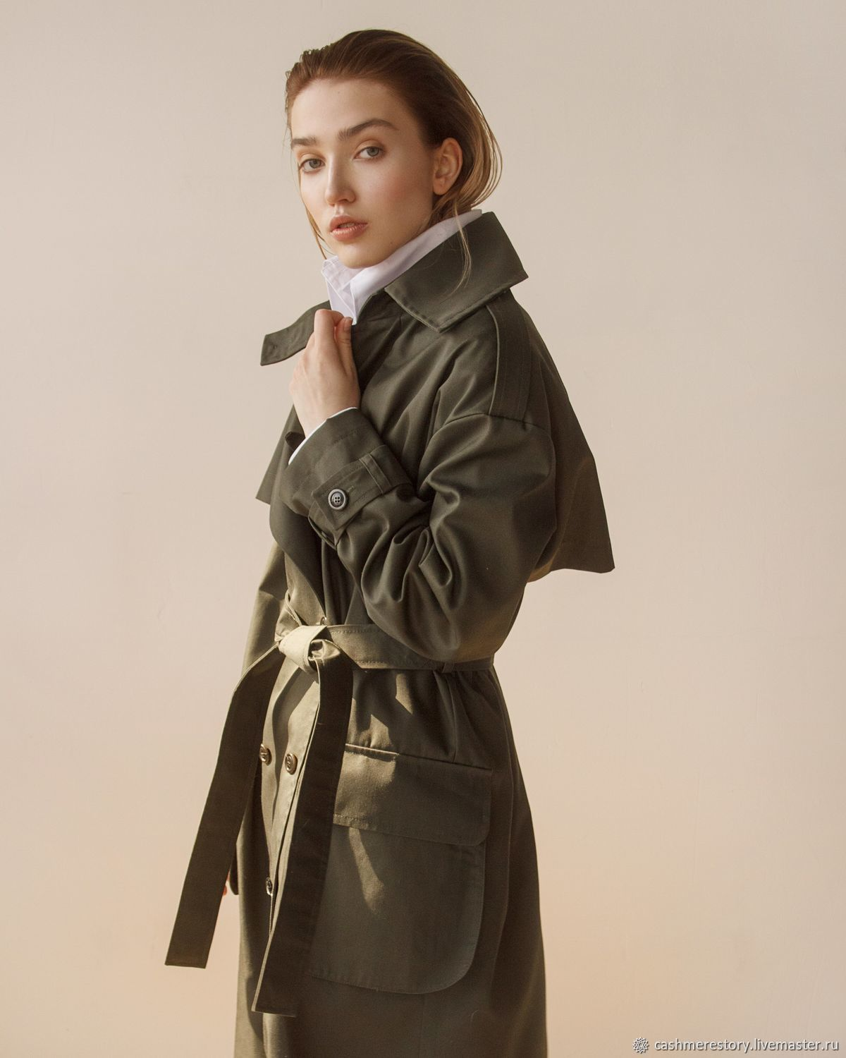 Women's trench coat with camouflage trim, Coats, Moscow,  Фото №1