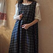 Одежда ручной работы. Ярмарка Мастеров - ручная работа Платье сарафан из льна Арт.05, темно-синее вклетку расклешенное. Handmade.
