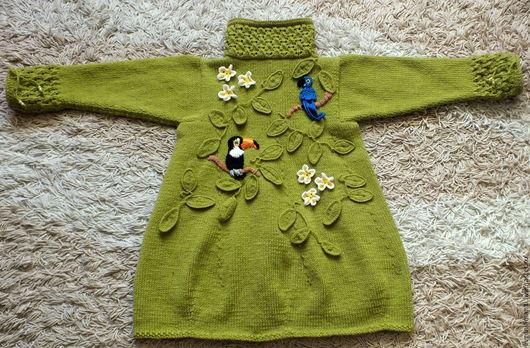 Одежда для девочек, ручной работы. Ярмарка Мастеров - ручная работа. Купить пальто Тропический лес авторское вязаное. Handmade. Оливковый