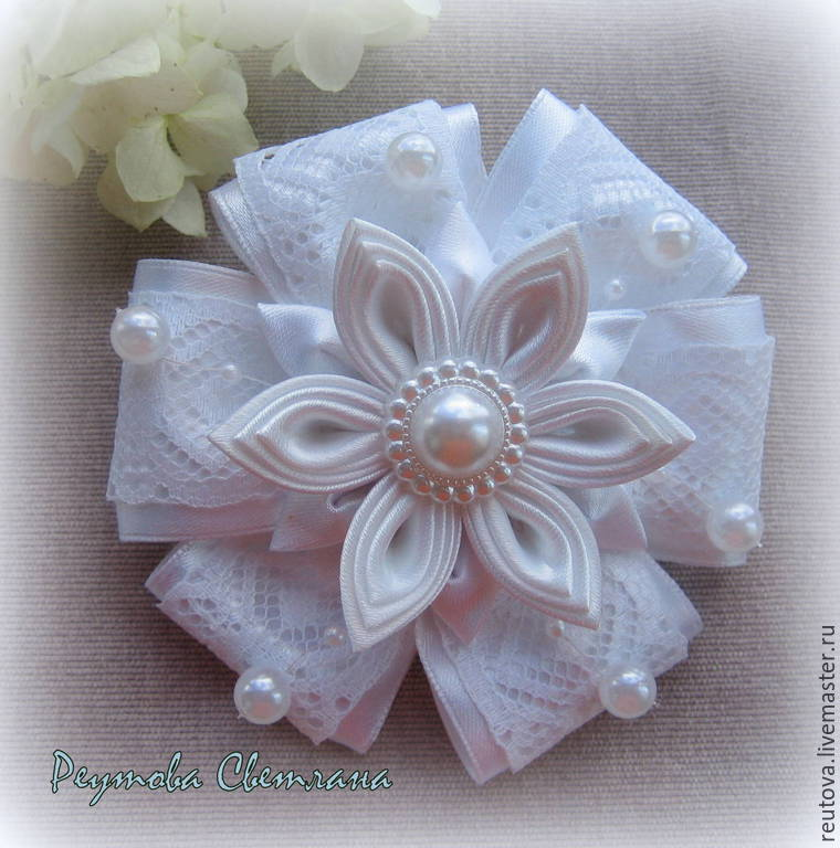 Scrunchie style kanzashi School time 5, Hairpins and elastic bands for hair, Chernogolovka,  Фото №1