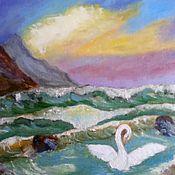 """Картины и панно ручной работы. Ярмарка Мастеров - ручная работа """"Лебедь белая плывет"""". Handmade."""