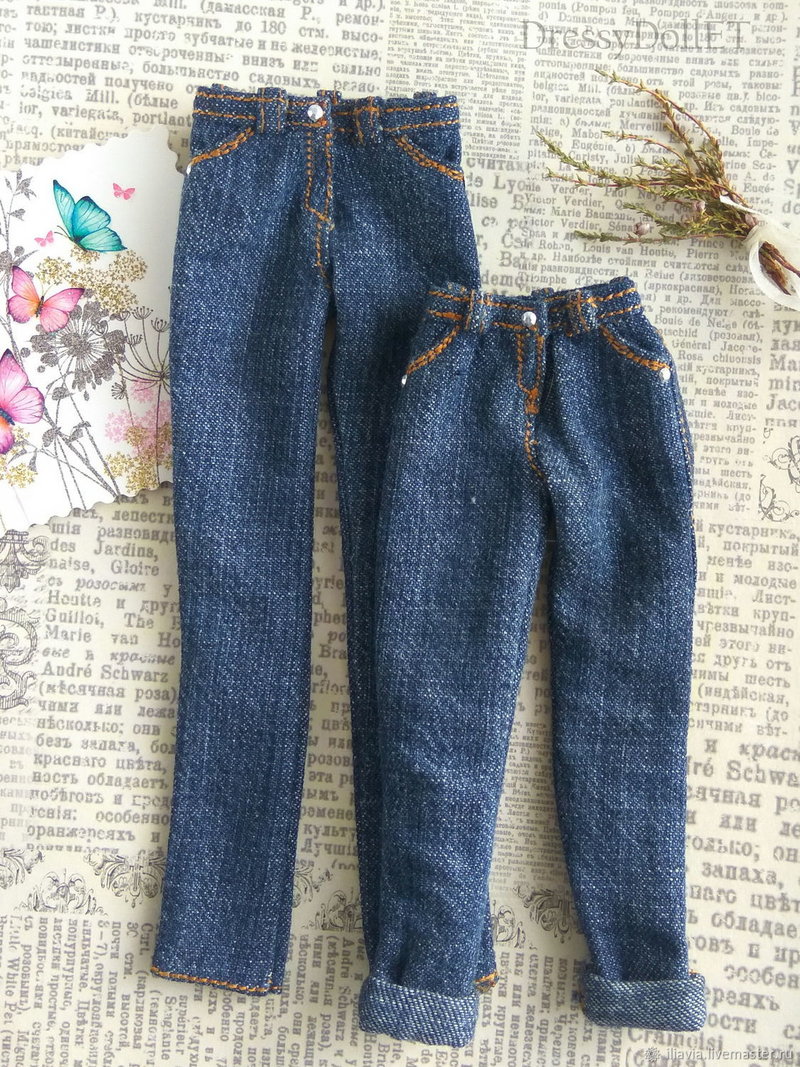 Realistic jeans for Barbie and Blythe dolls. Denim pants, Clothes for dolls, Arkhangelsk,  Фото №1