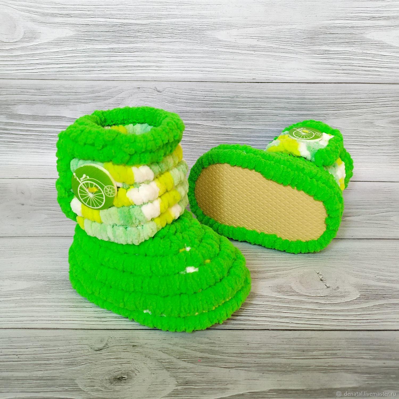 Обувь детская: вязаные плюшевые сапожки унисекс, 11 см размер 18, Обувь для детей, Иркутск,  Фото №1