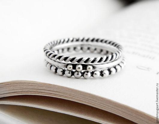 Кольца ручной работы. Ярмарка Мастеров - ручная работа. Купить Набор из трех колец, серебро 925 пробы. Handmade. Серебряный