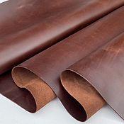 Материалы для творчества handmade. Livemaster - original item Leather: Pull-up Brown with wax finish 1,2-1,4 mm.. Handmade.