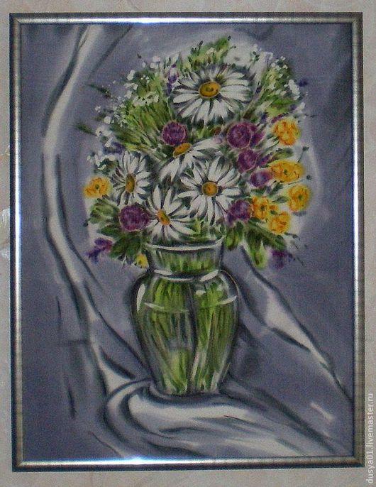 Картины цветов ручной работы. Ярмарка Мастеров - ручная работа. Купить Панно-Батик ''Полевые цветы''. Handmade. Серый, панно