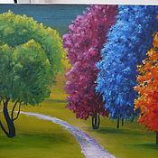 Картины и панно ручной работы. Ярмарка Мастеров - ручная работа Цветные деревья. Handmade.
