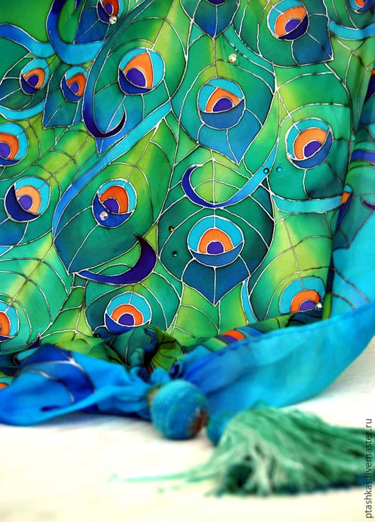 """Шарфы и шарфики ручной работы. Ярмарка Мастеров - ручная работа. Купить Батик шарф """"Павы"""". Handmade. Разноцветный, шелковый шарф"""