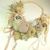 Украшения handmade. Livemaster - original item Powder Etude. Necklace. Pearls, lace, fabric, genuine leather. Handmade.