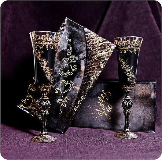 Бокалы, стаканы ручной работы. Ярмарка Мастеров - ручная работа. Купить Бокалы готика. Handmade. Оригинальный подарок, подарочный набор