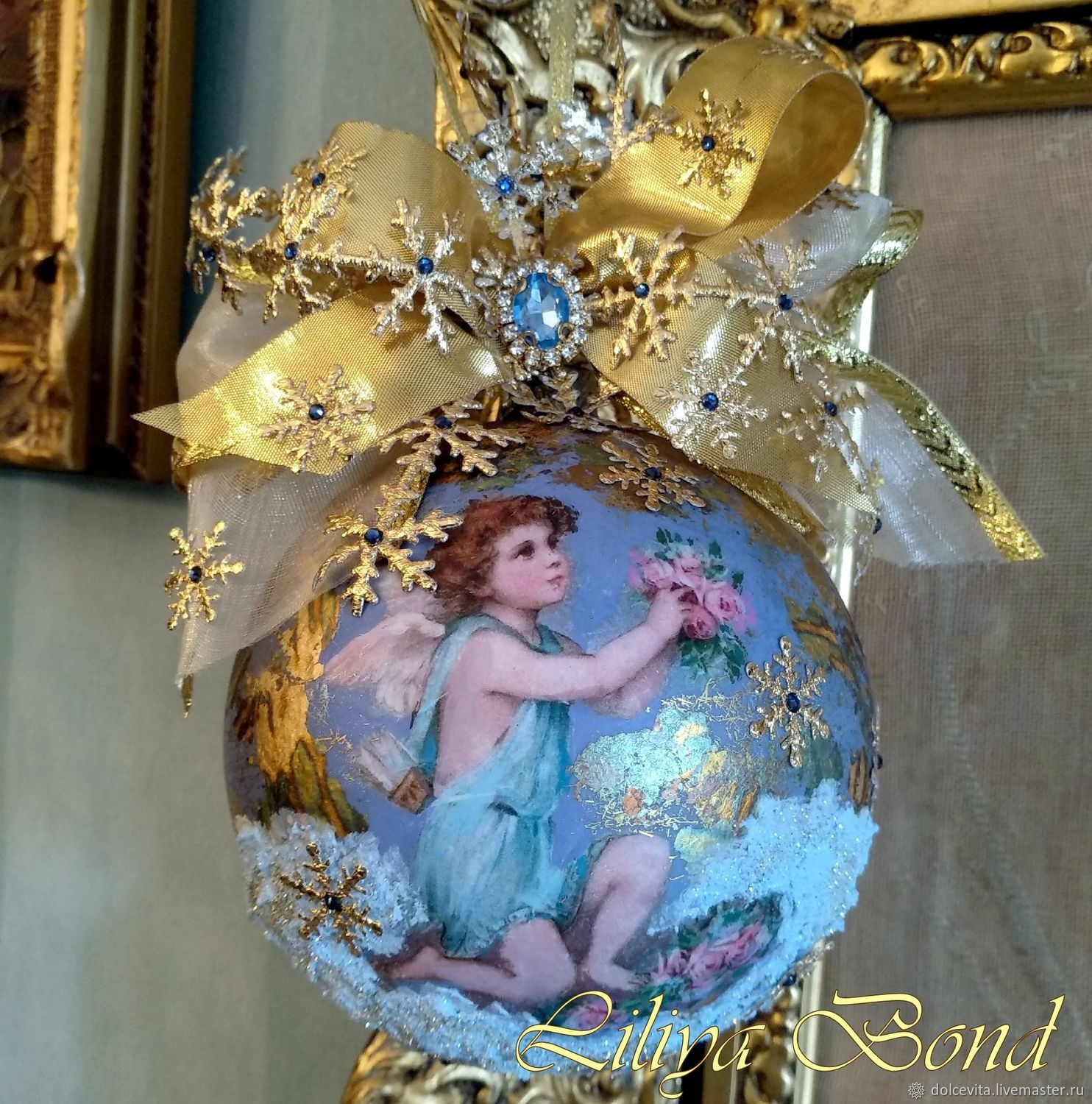 Balloon 'Cupid with roses'(d=12cm), Christmas decorations, Moscow,  Фото №1