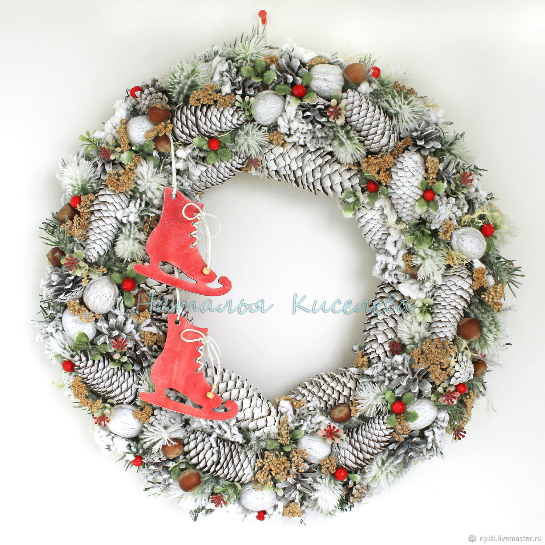венок зимний новогодний рождественский на дверь или стену