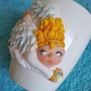 """Посуда ручной работы. Ярмарка Мастеров - ручная работа Кружка с декором """"Ангел"""". Handmade."""