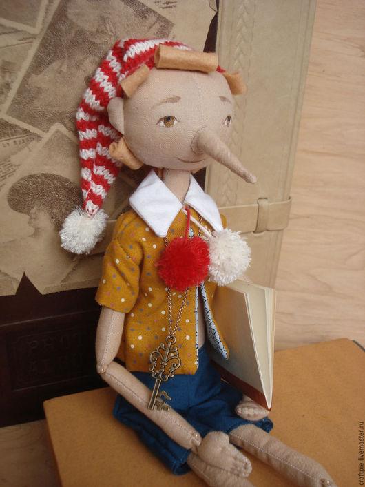 """Сказочные персонажи ручной работы. Ярмарка Мастеров - ручная работа. Купить Текстильная коллекционная кукла """"Буратино"""". Handmade. Оранжевый, фетр"""