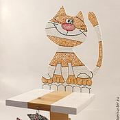 Для дома и интерьера ручной работы. Ярмарка Мастеров - ручная работа Полка деревянная Кот и рыбка. Handmade.