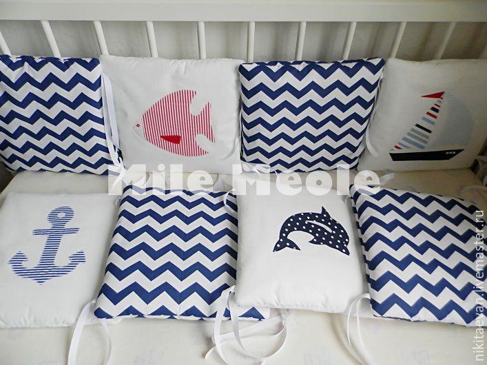 Бортики в кроватку в морском стиле, Текстиль, Санкт-Петербург, Фото №1
