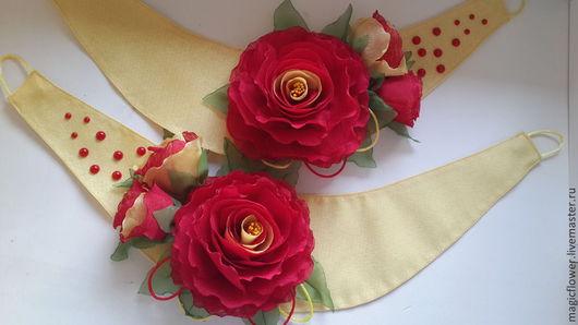 Текстиль, ковры ручной работы. Ярмарка Мастеров - ручная работа. Купить Для дома и интерьера. Подхват для штор. Цветы из ткани.. Handmade.