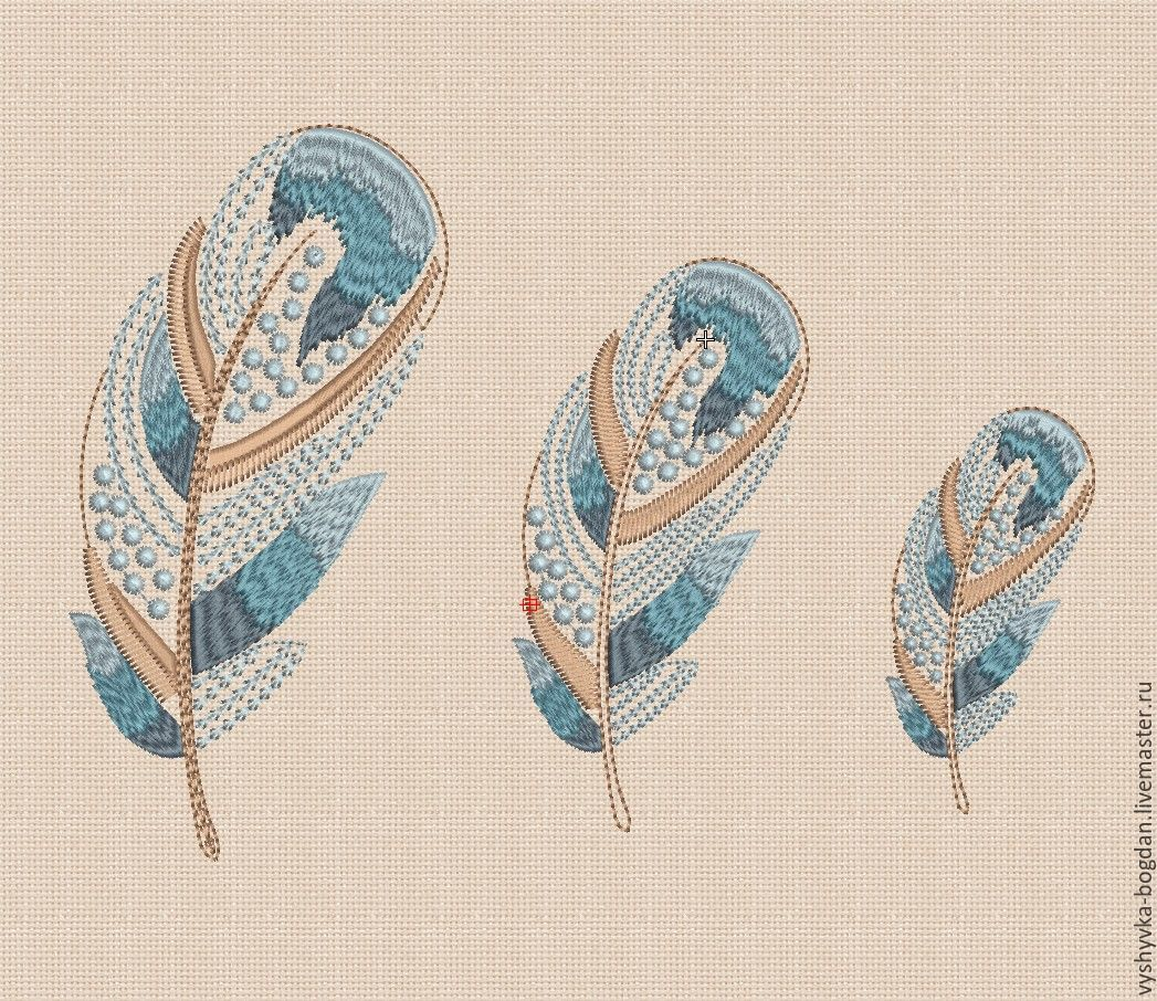 Machine embroidery designs set `Silk feather` bt181. Each design in the set freely enters the frame of 180 x 130 cm. Formats: dst exp pes hus jef jef + vip vp3 xxx
