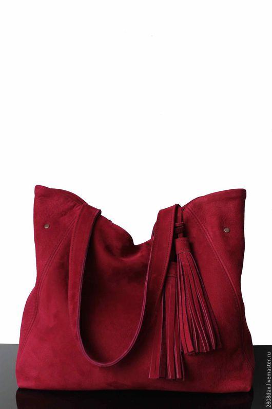 """Женские сумки ручной работы. Ярмарка Мастеров - ручная работа. Купить """"Madrid"""" Сумка замшевая, брусничный, замшевая сумка, шоппер. Handmade."""
