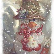"""Подарки к праздникам ручной работы. Ярмарка Мастеров - ручная работа Снеговик """"сНежный"""". Handmade."""