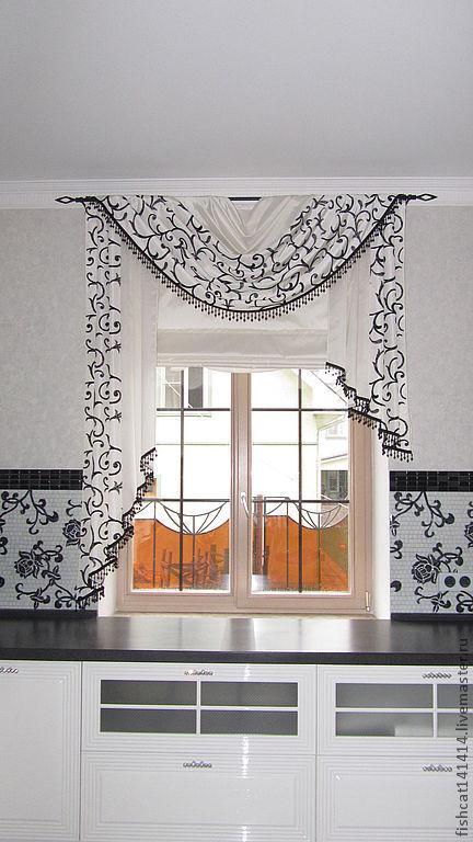 Текстиль, ковры ручной работы. Ярмарка Мастеров - ручная работа. Купить Шторы для кухни в черно-белом цвете. Handmade. Белый