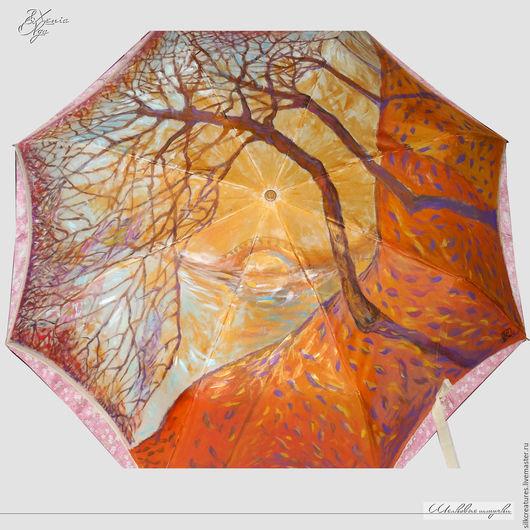 """Зонты ручной работы. Ярмарка Мастеров - ручная работа. Купить """"Осень"""" ручная роспись на зонте бежевый золотистый на заказ. Handmade."""