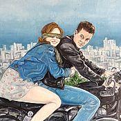 Картины и панно ручной работы. Ярмарка Мастеров - ручная работа Картина маслом За тобой на край света - любовь, двое, город, мотоцикл. Handmade.