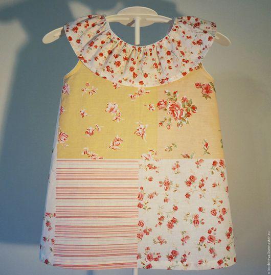 Одежда для девочек, ручной работы. Ярмарка Мастеров - ручная работа. Купить Детское платье с розочками и полосками. Handmade. Разноцветный, розочки