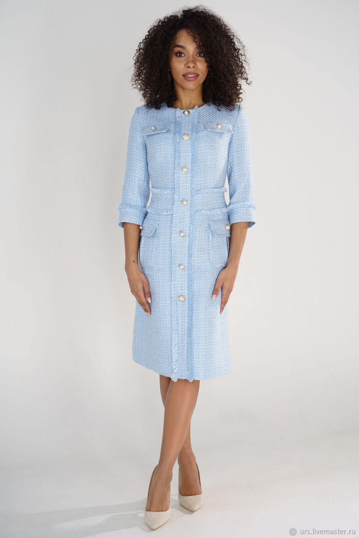 616-1 Платье в стиле Шанель голубая рогожка с притачным широким поясом, Платья, Брест,  Фото №1